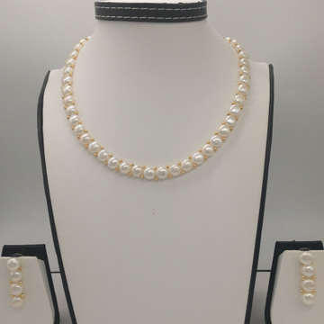 Freshwater White Button Pearls 1 Lines Necklace Set JPP1021