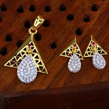 916 gold triangle cz Pendant Set ps-0011