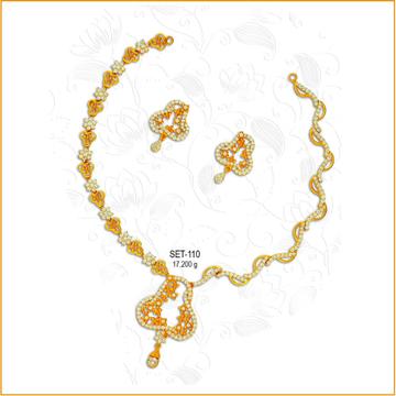 22KT CZ Gold Designer Necklace Set-110