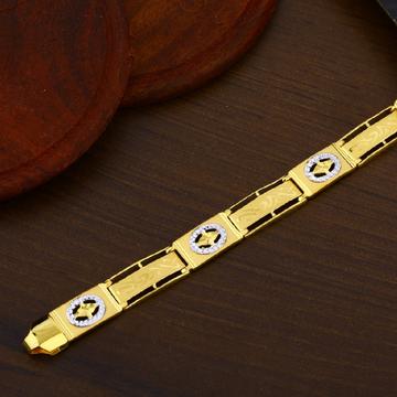 Mens Simple Fancy Plain Casting Gold Bracelet-MPB10