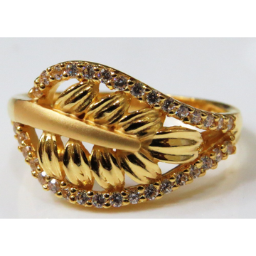 22kt  gold casting  cz fancy leaf design ring for women lsr-2