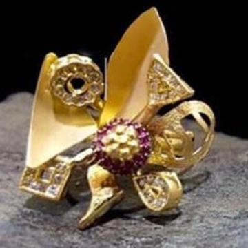 916 Gold Premium 3 Tone Ladies Ring RH-LR47