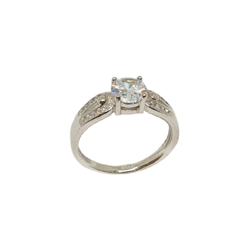 925 Sterling Silver Solitaire Diamond Ring MGA - LRS3453