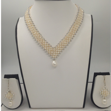 "Freshwater White Seed Pearls ""V"" Jaali Necklace Set JPP1029"