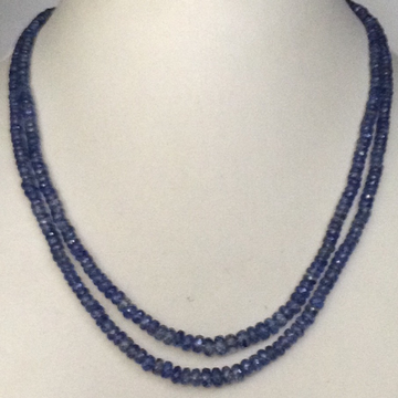 Natural Blue Kunzite Round Faceted Beeds 2 layers Necklace