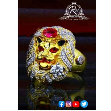 22 carat gold lion daimond gents rings RH-GR388