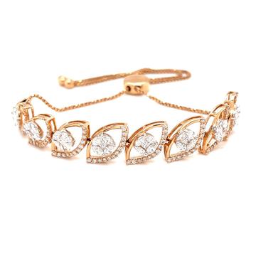 Adjustable tennis bracelet with pressure set in th...