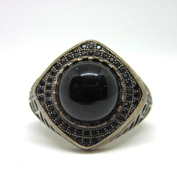 Silver 925 black round shape royal ring sr925-109 by