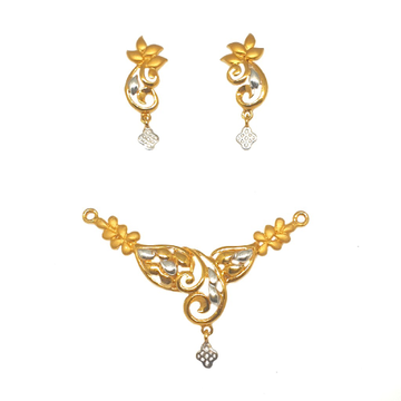 22K Gold Fancy Mangalsutra Pendant With Earrings MGA - PTG0101