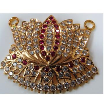 22kt gold close setting light weight cz Lotus pendant