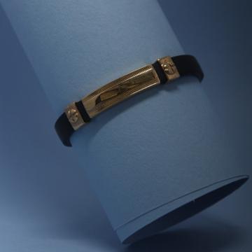18kt rose gold stylish leather bracelet by Simandhar Jewellers