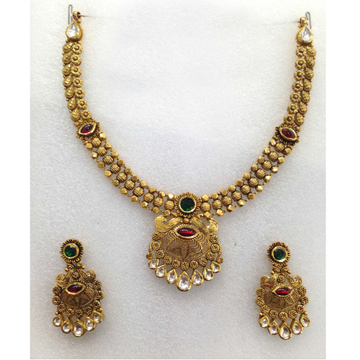 916 Gold Designer Wedding Necklace Set-007