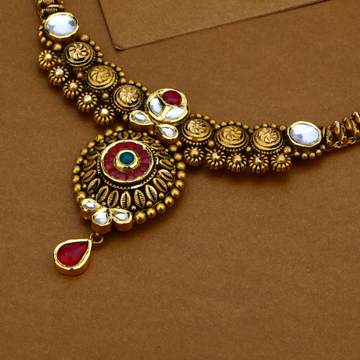 22KT Gold Antique Wedding Necklace Set