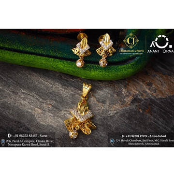 18K Gold Stylish Pendant Set by Anant Orna