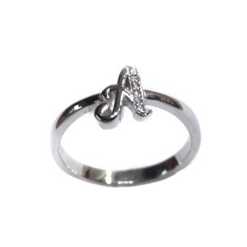 925 Sterling Silver Alphabet (Letter A) Ring MGA - LRS1542