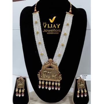 916 Gold Antique White Pearl Jadtar Long Necklace Set VJ-N015