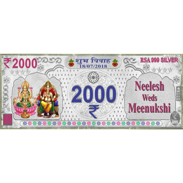 999 silver marriage card in 2000(two thousand)rs note ms-1641