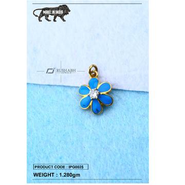 18 carat gold Kids pendent blue flower ipg0025
