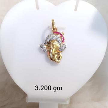916 Gold CZ Ganesh Design Pendant KG-P09