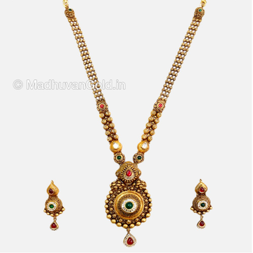 22K Gold Modern Long Necklace With Earrings
