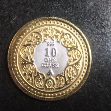 silver gold two(2) ton Ganga jamna coin (sikka) 06