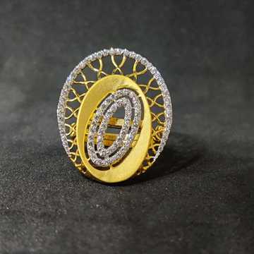 22kt girls festival wear white stone gold ring-15020