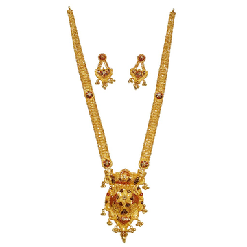 22k Gold Long Necklace With Earrings MGA - GLS049