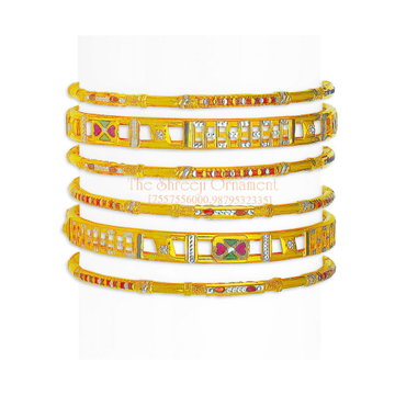 916 Gold Designer 6 Pair Bangle Set - 003