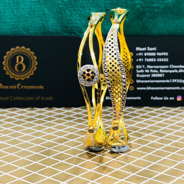 22KT/916 FLORAL DESIGN GOLD COPPER KADLI BANGLE by