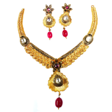 One gram gold forming antique necklace set mga - gfn0010