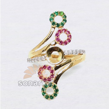 22ct Multi Color CZ Diamond Gold Ring Design for Women
