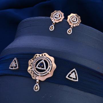 18KT  Rose Gold CZ  Delicate Diamond Necklace Set...