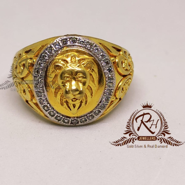 22 carat gold gents lion king diamond ring RH-GR908