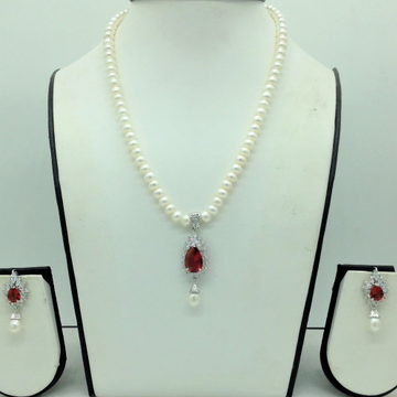 White,Red Cz PendentSet With 1Line FlatPearls M...