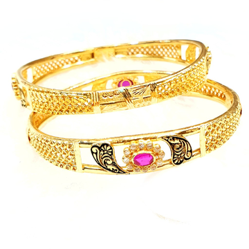 22k Gold Checkers Diamond Fancy Designer Copper Kadli Bangles MGA - GK029