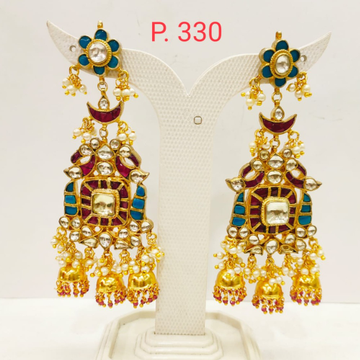 Bridal Ruby & Sky blue Gold tone Long Earring with...