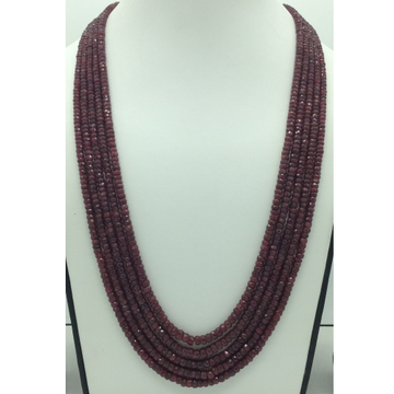 Natural Red Ruby Round Faceted 5 Layers Necklace J...
