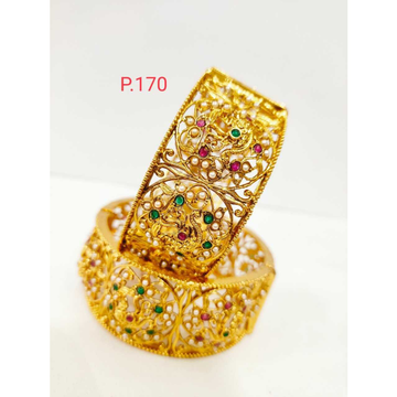 Gold polish peacock nakshi work patla with pink and green stone & screw openable kada 1212
