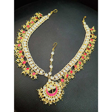 Pink And White Kundan's Bridal Mathapatti (Damni)1083