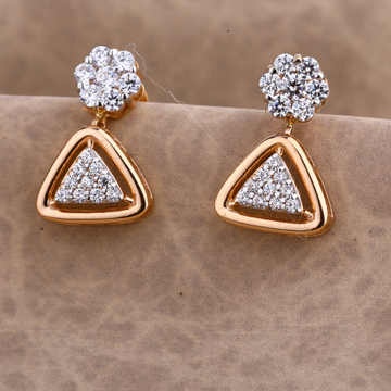 750 CZ Ladies Rose Gold Designer Earring RE187