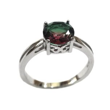 925 Sterling Silver Fancy Red And Green Colour Stone Ring MGA - LRS1566