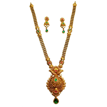 22k Gold Antique Designer Nakashi Necklace Set MGA - GLS056