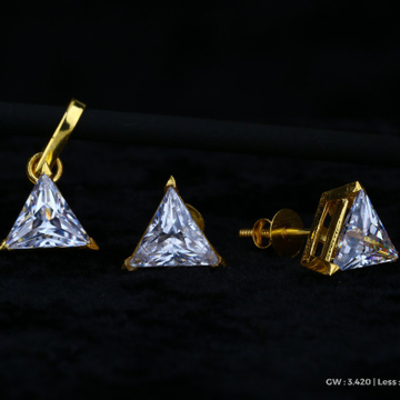 18 kt single Stone Triangle earrings design by Saideep Jewels
