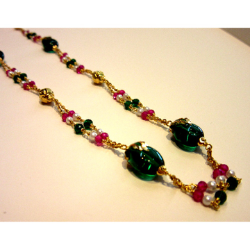 22k 916 hallmark antique colorful stone mala by