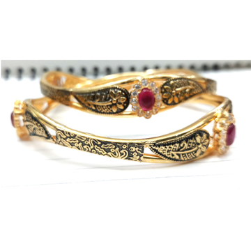 916 Gold Pink Stone Copper Kadali Bangle