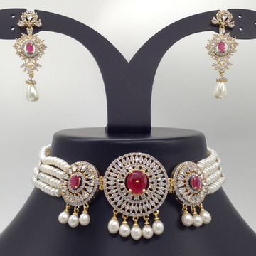White,RedCZ And Pearls ChokerSet With 4Line FlatPearls Mala JPS0536