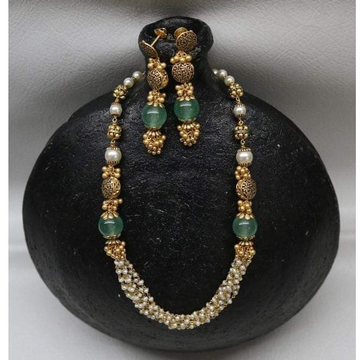 22KT Gold antique Green Beads Moti Mala BJ-M002