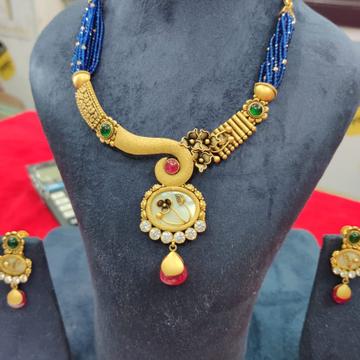 916 Gold Hallmark Kundan Necklace Set  by