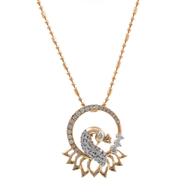 Peacock Design Diamond Pendant in 18k Rose Gold 9S...