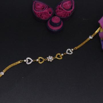 22K Hallmarked Heart shape Bracelet For Women by Simandhar Jewellers